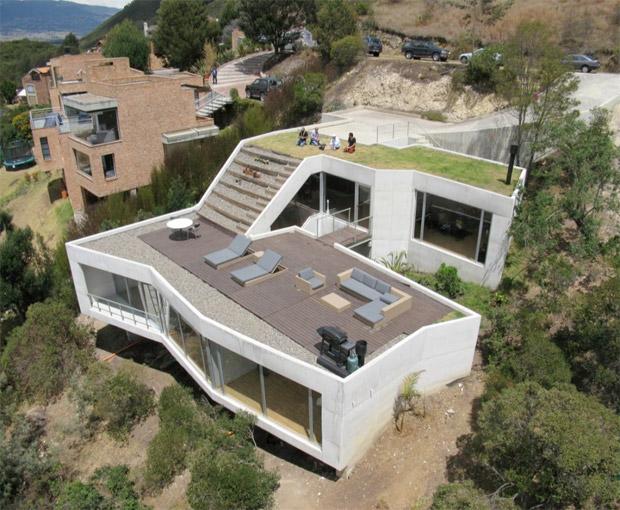 maison avec terrasse sur le toit