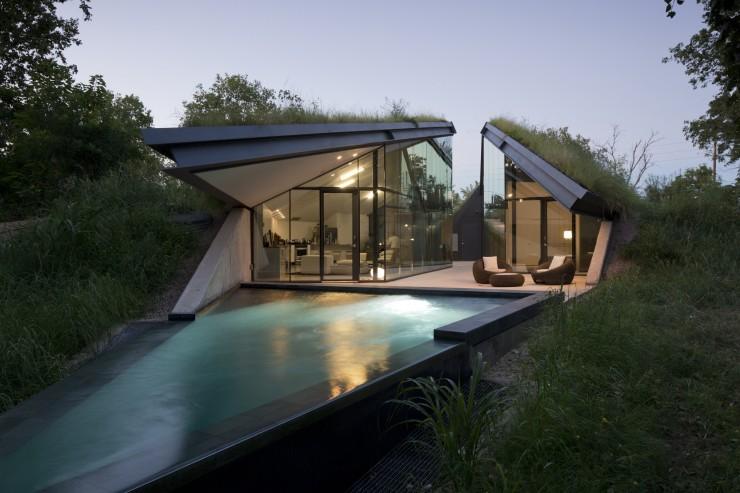 Maison avec gazon sur le toit